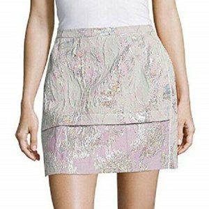 Sandro Pink Green Silver Joyau Skirt - Size 3